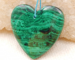 36.5cts malachite gemstone pendant,nugget malachite,heart-shaped pendant D9