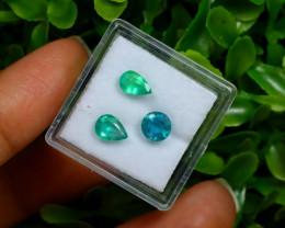 1.73Ct 3Pcs Natural Afghanistan Green Panjshir Emerald A0422