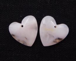 17cts pink opal earrings pair, natural gemstones, pink opal heart-shaped ea