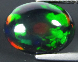3.38Cts Natural Earth Mined Color Play Black Opal Oval Cabochon Gem REF VOD