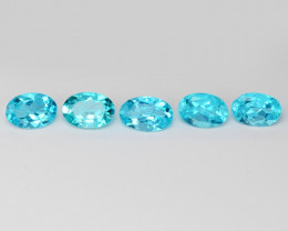 *NoReserve*Neon Blue Apatite 2.66 Cts 5 Pcs Unheated Natural Gemstone