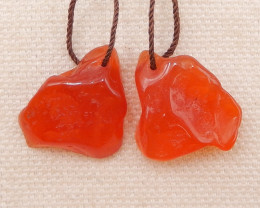 29.5cts red agate gemstone earrings pairs, red beads D1009