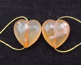 34.5cts cherry blossom agate heart-shaped earring beads D1014