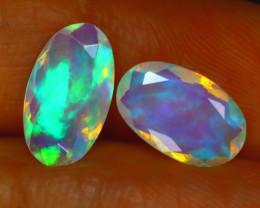 Welo Opal 2.02Ct 2Pcs Natural Ethiopian Play of Color Opal E0619/A44