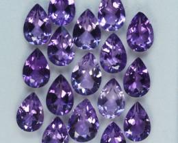 21.52Cts Natural Purple Amethyst 9x7mm Pear Cut 17Pcs Bolivia