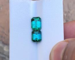 3.15 Ct Natural Blueish Transparent Tourmaline Gemstones Pairs