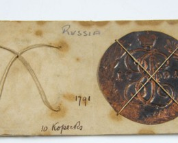 MUSEUM ARCHIVAL RUSSIAN 10  KOPECKS DATED 1791 CO 611