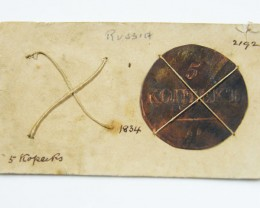 MUSEUM ARCHIVAL RUSSIAN 5 KOPECKS DATED 1834 CO 610