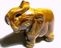 CARVING TIGEREYE ELEPHANT 12.90 CTS LT - 205 (LT-CR)