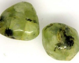 PREHNITE BEAD DRILLED 2 PCS 50.3 CTS  NP-1347