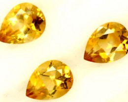 CITRINE NATURAL FACETED 3 STONESHIGH CLARITY 3.10CTS ADG-607