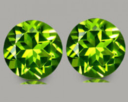 3.84Cts Genuine Excellent Natural Peridot 8mm Round Matching Pair REF VIDEO