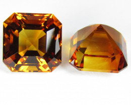 16.40Cts Wow Amazing Natural Citrine Asher Cut 11.7mm Collection Pair SEE