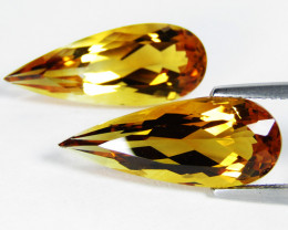 13.13Cts Wow Amazing Natural Citrine Pear Shape Matching Pair SEE VIDEO