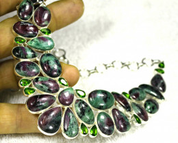 453.5 Tcw. Ruby In Zoisite 925 Sterling Silver Necklace - Gorgeous