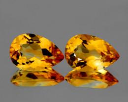 10x7 mm Pear 2pcs 3.42cts Golden Yellow Citrine [VVS]