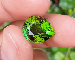 UNHEATED 9.09 CTS NATURAL STUNNING PEAR CUT TOP GREEN TOURMALINE MOZAMBIQUE