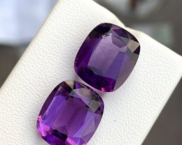 pair of 18.90 Carats fancy cut amethyst gemstones