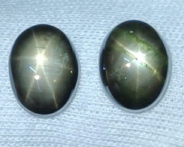 9.80 CTS NATURAL BLACK SIX LINE STAR SAPPHIRE UNHEATED GENUINE CABS 2 PCS