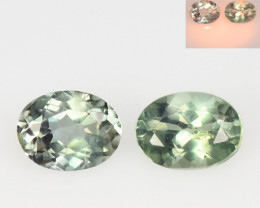 *NoReserve*Alexandrite 0.51 Cts 2 Pcs Color Change Green To Orange Natural