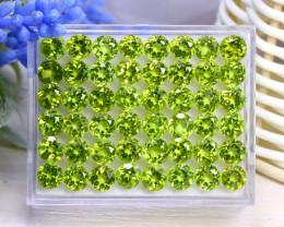 Peridot 35.76Ct 48Pcs Round Cut Natural Neon Green Peridot C0910