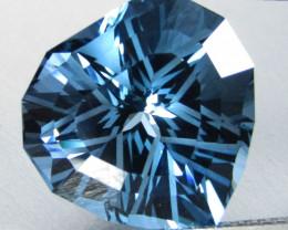 15.42Cts Sparkling Natural London Blue Topaz Heart Shape Custom Cut Cut Loo