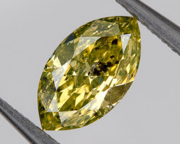 0.28 Ct Fancy Yellow Green Loose Natural Diamond Marquise 6.2x3.4mm Untreat