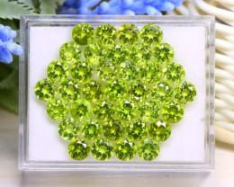 Peridot 26.87Ct 37Pcs Round Cut Natural Neon Green Peridot Box A1031