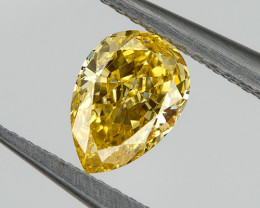 0.29 Ct VVS Fancy Orange Yellow Loose Natural Diamond Pear Untreated