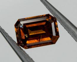 0.31 Ct Fancy Red Cognac Loose Natural Diamond Emerald Cut Untreated