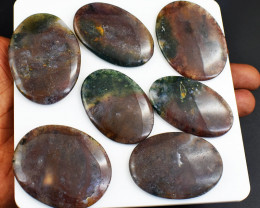Genuine Multicolor Moss Agate Flat Back Cabochon Lot