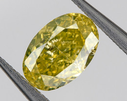 0.34 Ct Fancy Yellow Green Loose Natural Diamond Oval Untreated