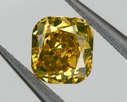 0.35 Ct. SI2 Fancy Brown Orange Yellow Loose Natural Diamond Cushion Untrea