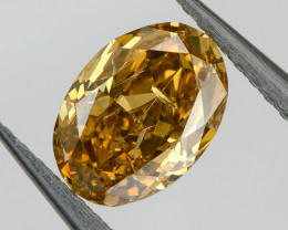 0.35 Ct Fancy Brown Yellow Orange Loose Natural Diamond Oval Untreated