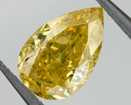 0.36 Ct Fancy Brown Yellow Loose Natural Diamond Pear Untreated