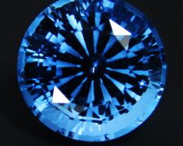 5.17Cts Sparkling Natural  Swiss Blue Topaz Round precision Cut Loose Gem V