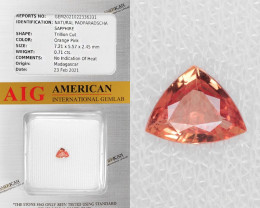 *NoReserve*Padparadscha Sapphire 0.71Cts AIG Certified Natural Orange Pink