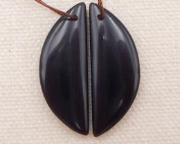 21.5cts obsidian earrings pair , natural stone earrings D1047