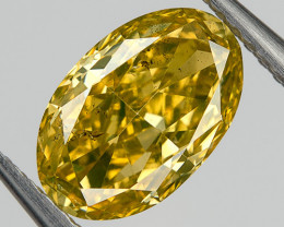 0.53 Ct SI2 Fancy Orange Green Yellow Loose Natural Diamond Oval Untreated