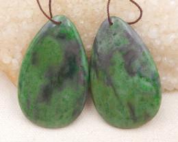 147.5cts african jade pendants pair,handmade gemstones D1068
