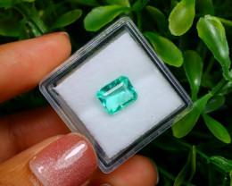 1.61Ct Colombian Muzo Emerald Neon Mint Green Beryl C1204