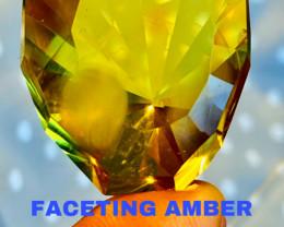 30CT AMBER FACETING (POLAND)  UNIQUE FANTASY MASTER CUT
