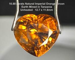 10.88ct UNHEATED Orange Zircon - Heart  Tanzania 12.7 x 11.8mm