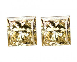 ~UNTREATED~ 0.06 Cts Natural Diamond Champagne Square Princess 1.50mm Pair