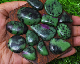 Genuine Ruby Zoisite Flat Back Cabochons Lot - Wholesale