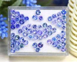 16.73Ct Round Cut Natural Purplish Blue Tanzanite Lot Box A1321