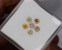 0.53 Ct 6pcs 2.7mm Fancy  Multicolor Loose Natural Diamonds  Set Pink Orang