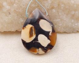 Natural Peanut Wood Fossil Teardrop Pendant Bead  P0010