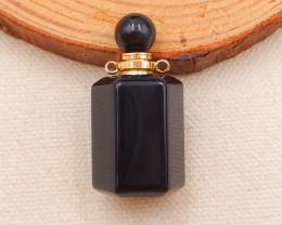 i017 -67.5cts natural obsidian gemstone perfume bottle necklace