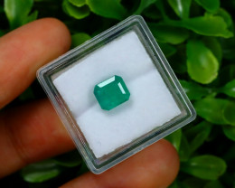 Emerald 1.86Ct Octagon Cut Natural Zambian Green Color Emerald A1327